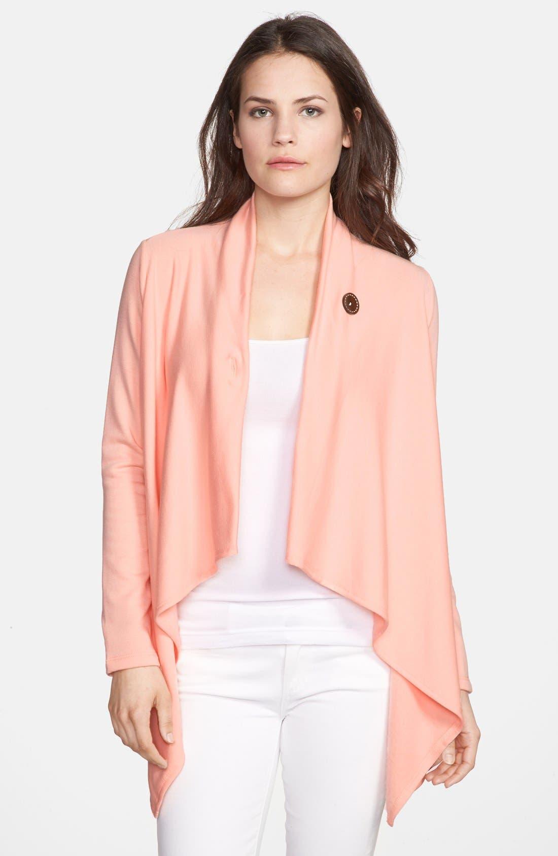 ,                             One-Button Fleece Wrap Cardigan,                             Main thumbnail 236, color,                             950