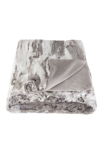 "Image of Natural Genuine Rabbit Fur Throw Blanket - 50"" x 60"" - Gray"