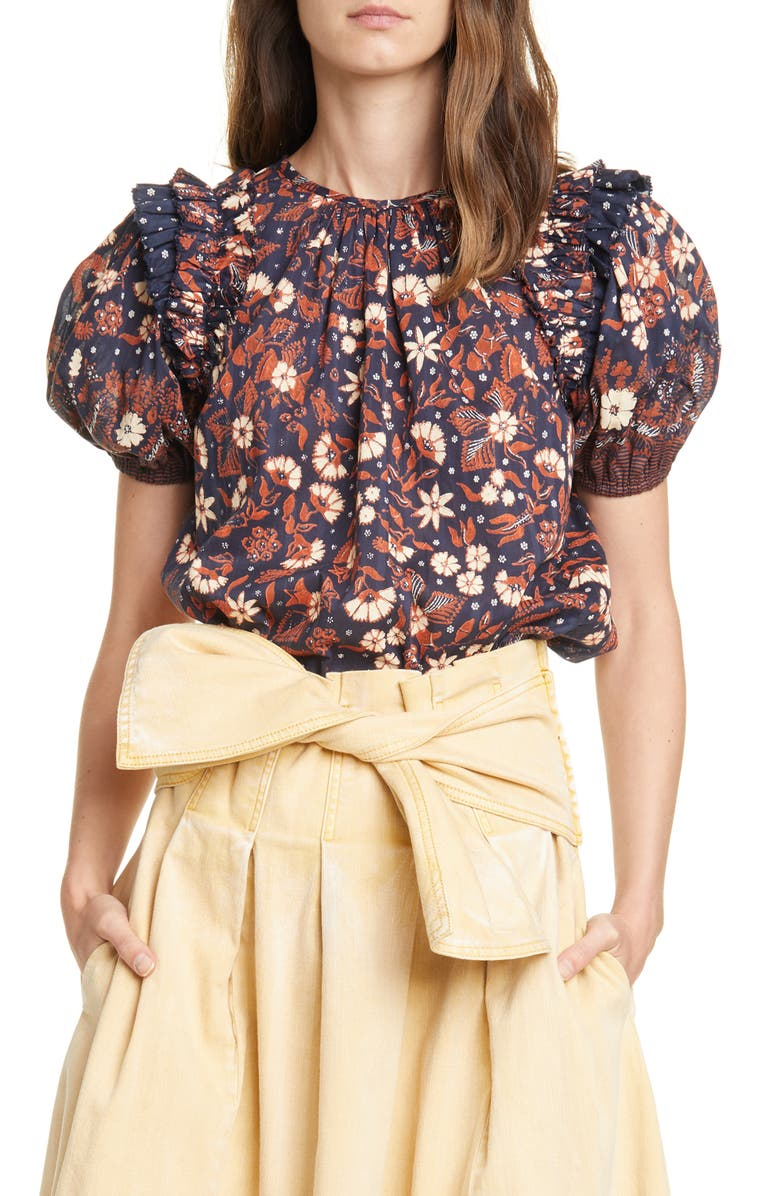 ULLA JOHNSON Arbor Floral Puff Sleeve Top, Main, color, 400