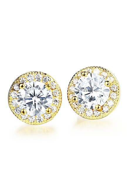 Image of Savvy Cie 14K Gold Plated Halo Stud Earrings