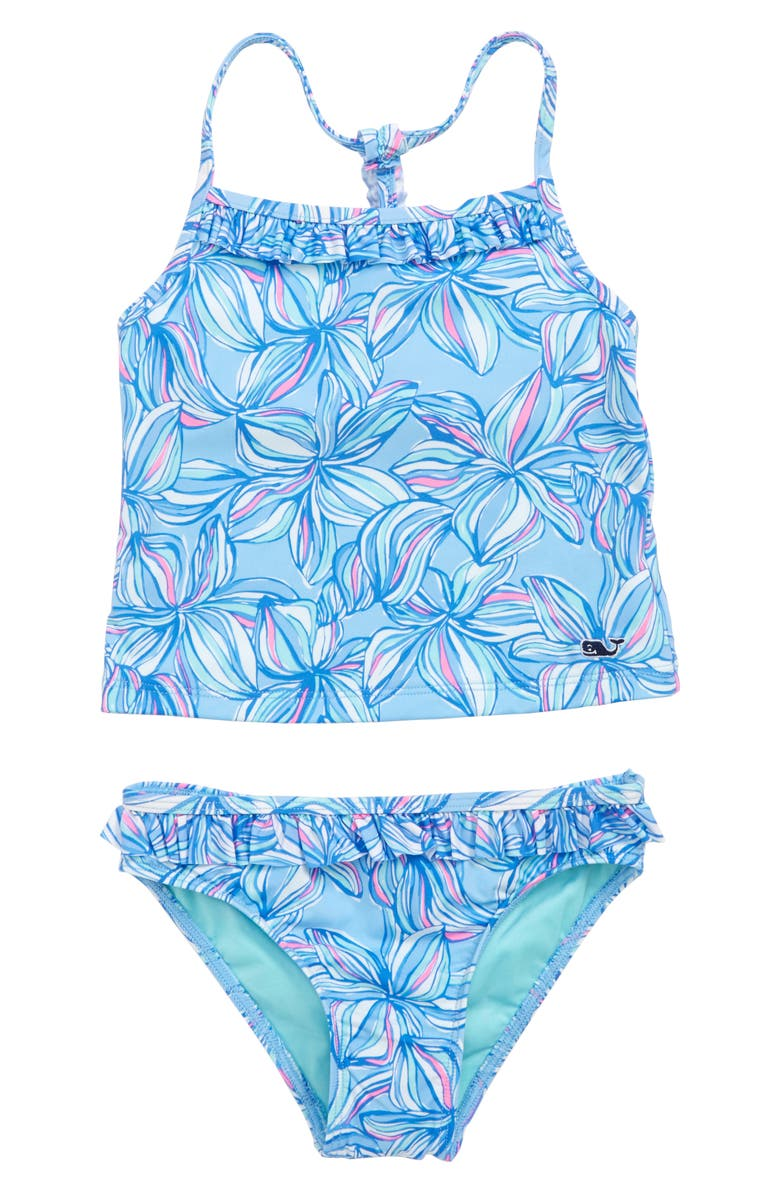 VINEYARD VINES Plumeria Print Tankini, Main, color, JAKE BLUE