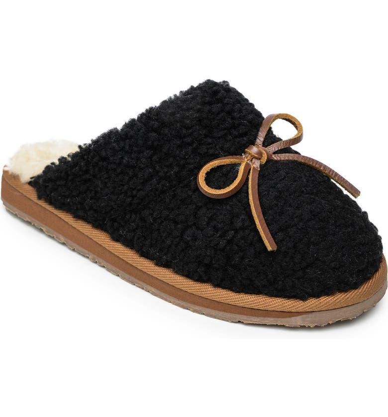 MINNETONKA Flurry Scuff Faux Fur Slipper, Main, color, BLACK