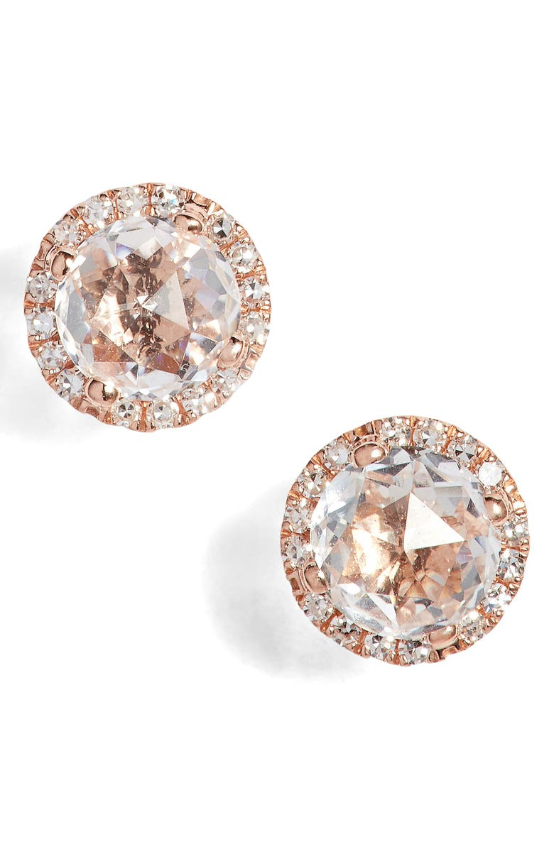 EF COLLECTION Diamond & Topaz Stud Earrings, Main, color, ROSE GOLD