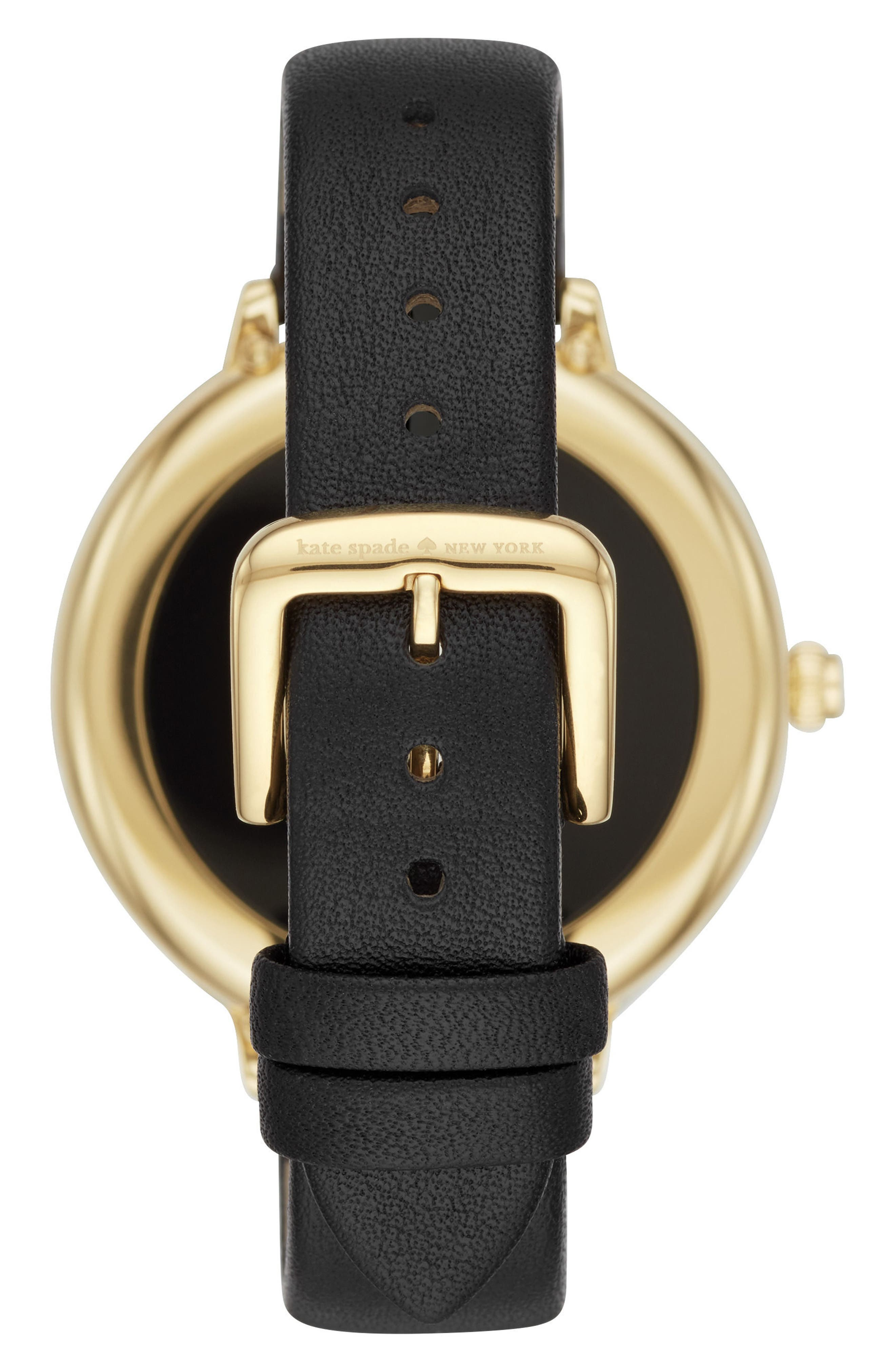 ,                             scallop leather strap touchscreen smart watch, 42mm,                             Alternate thumbnail 2, color,                             BLACK/ GOLD