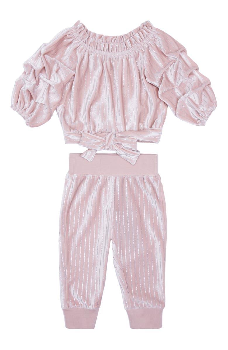 HABITUAL GIRL Habitual Kids Skye Metallic Stripe Velour Top & Pants Set, Main, color, LIGHT PINK