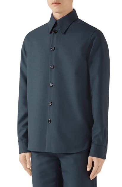 Gucci Men's Military Drill Sport Shirt In Iron Blue