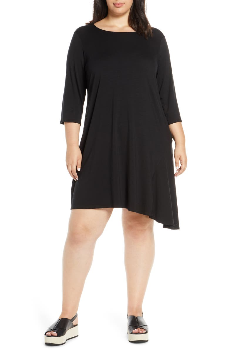 EILEEN FISHER Tencel<sup>®</sup> Lyocell Blend Asymmetrical Dress, Main, color, BLACK