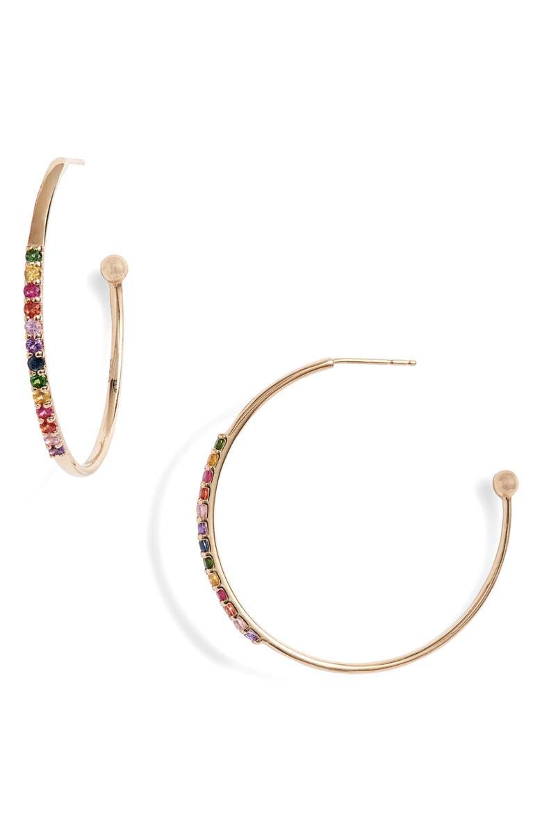 ANZIE Cleo Rainbow Hoop Earrings, Main, color, GOLD/ MULTI