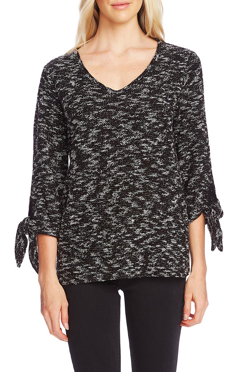 VINCE CAMUTO Tie Cuff Nubby Sweater, Main, color, RICH BLACK