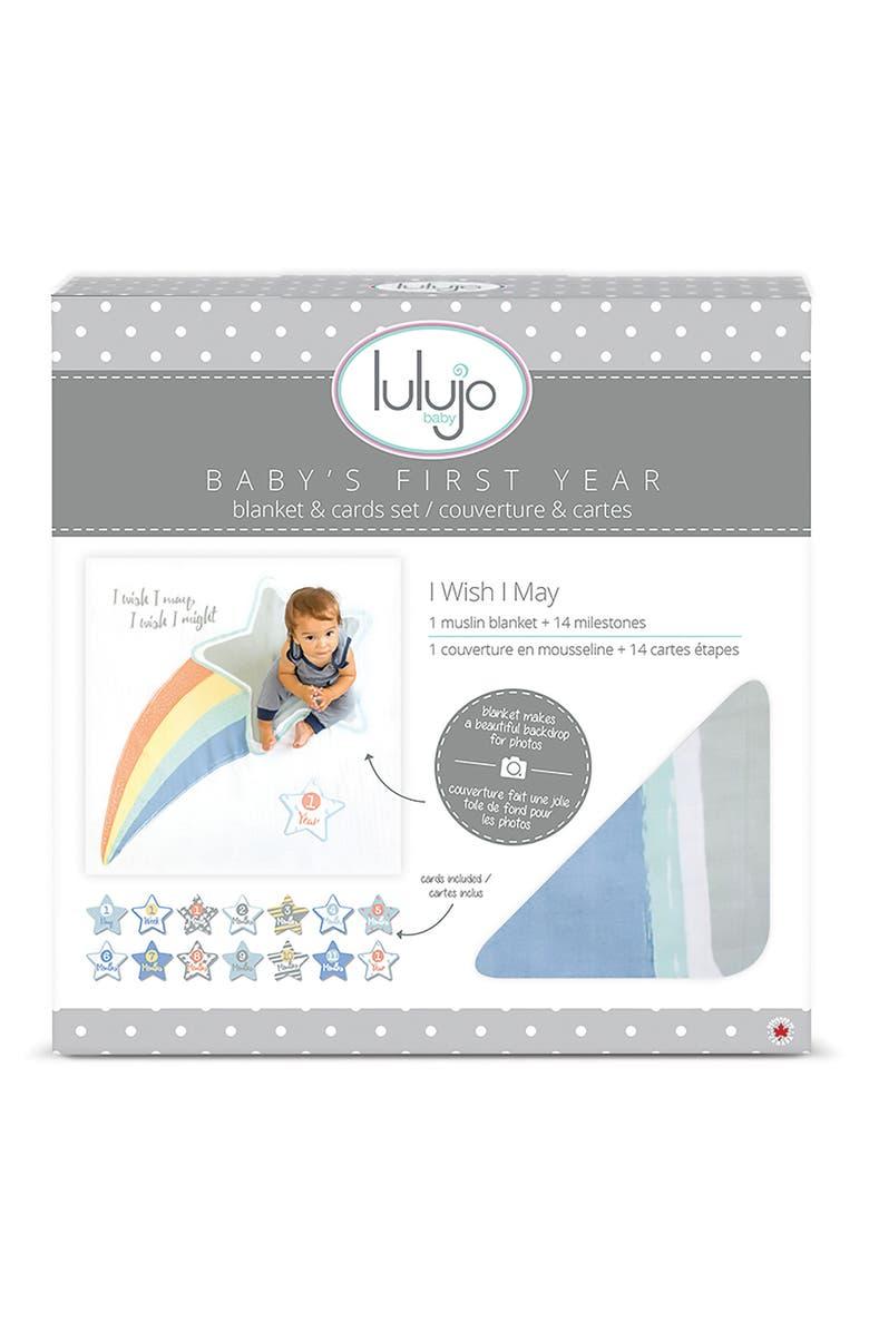 LULUJO Baby's First Year - I Wish I May Muslin Blanket & Milestone Card Set, Main, color, 020