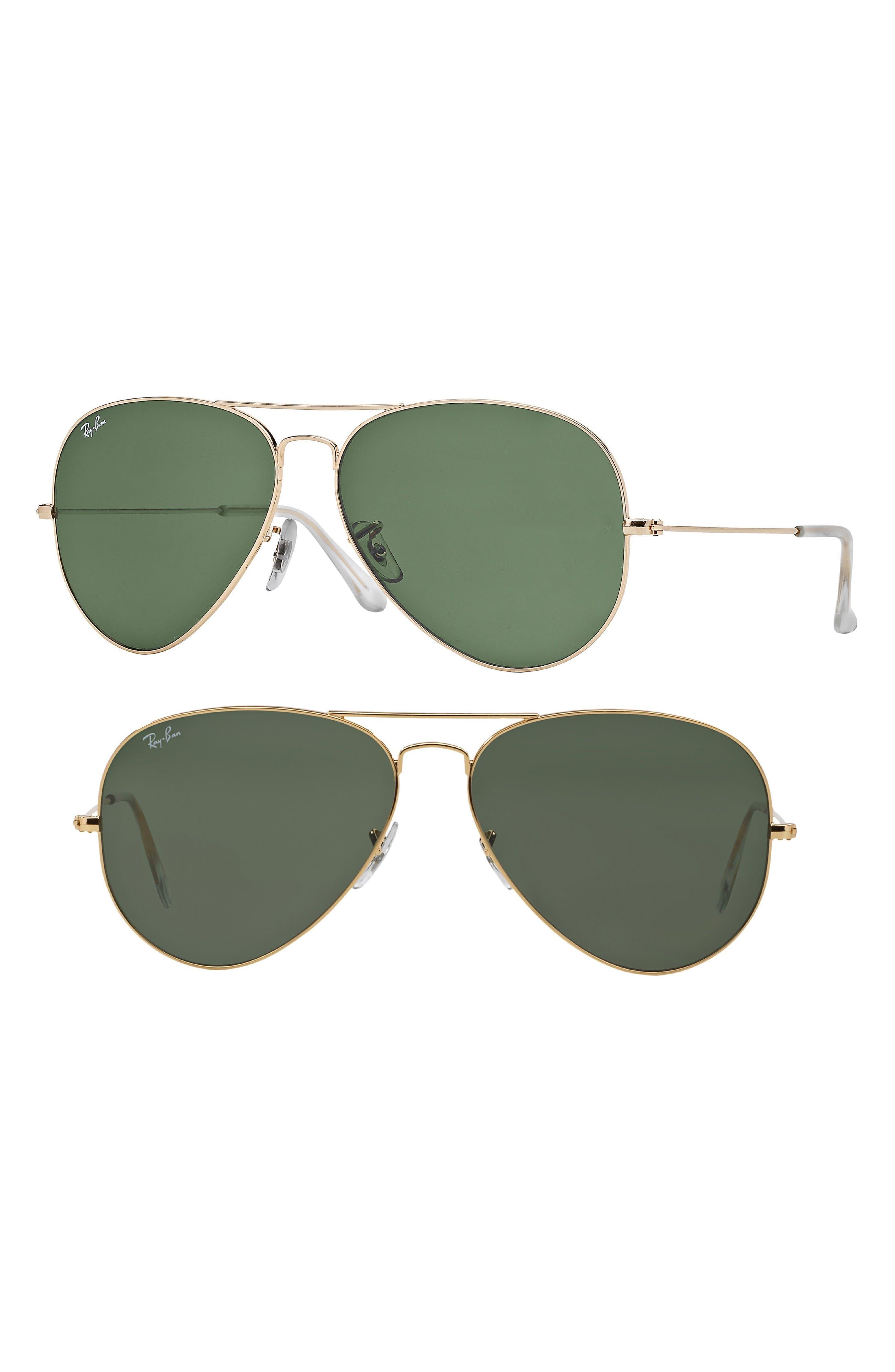 Ray-Ban Large Original 62Mm Aviator Sunglasses - Gold/ Green