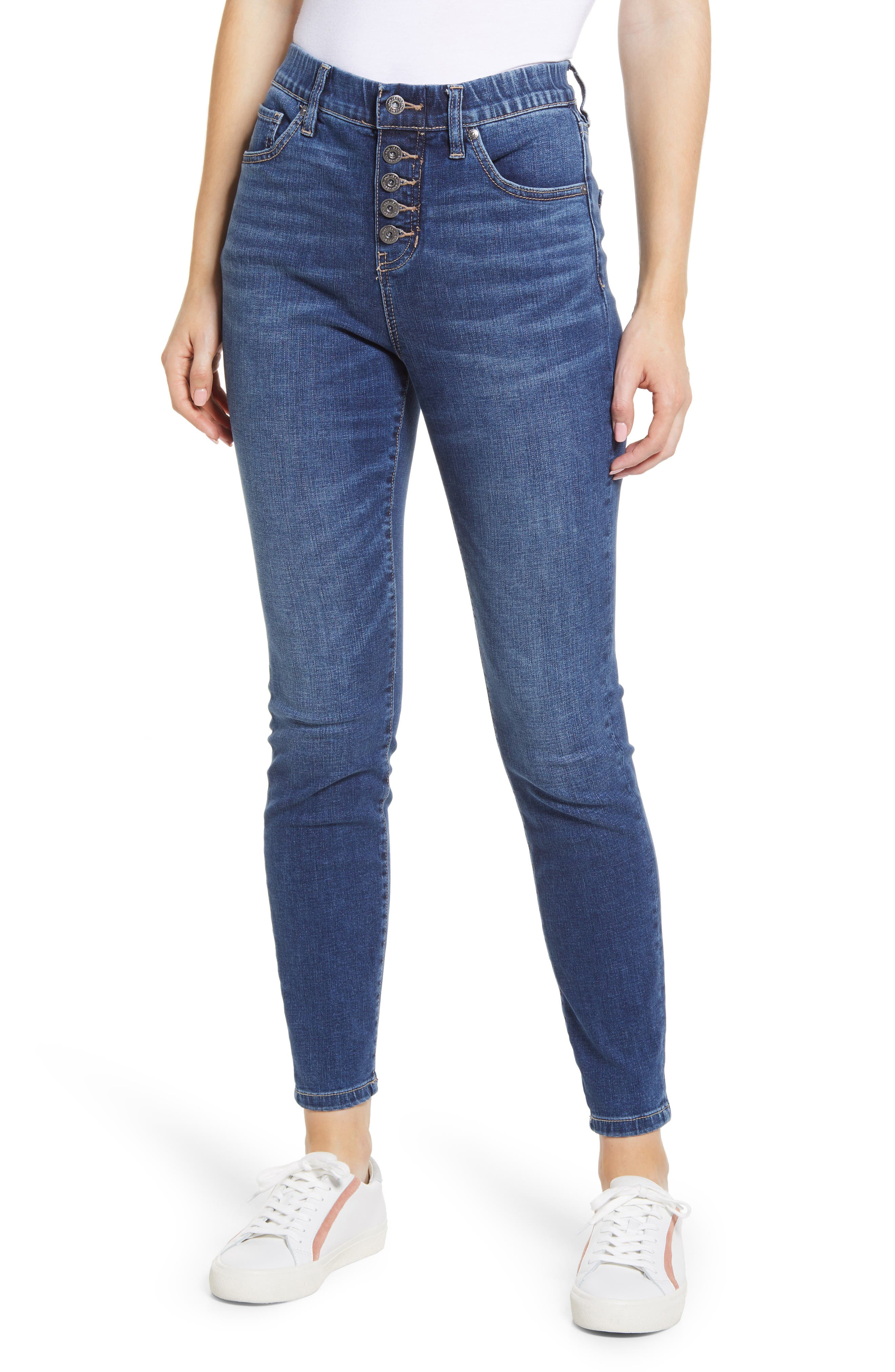 Valentina Pull-On High Waist Exposed Button Ankle Skinny Jeans