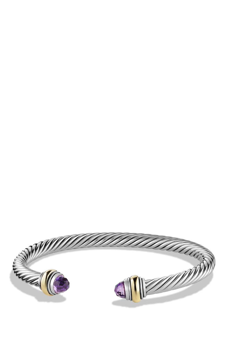 DAVID YURMAN Cable Classics Bracelet with Semiprecious Stones & 14K Gold Accent, 5mm, Main, color, AMETHYST