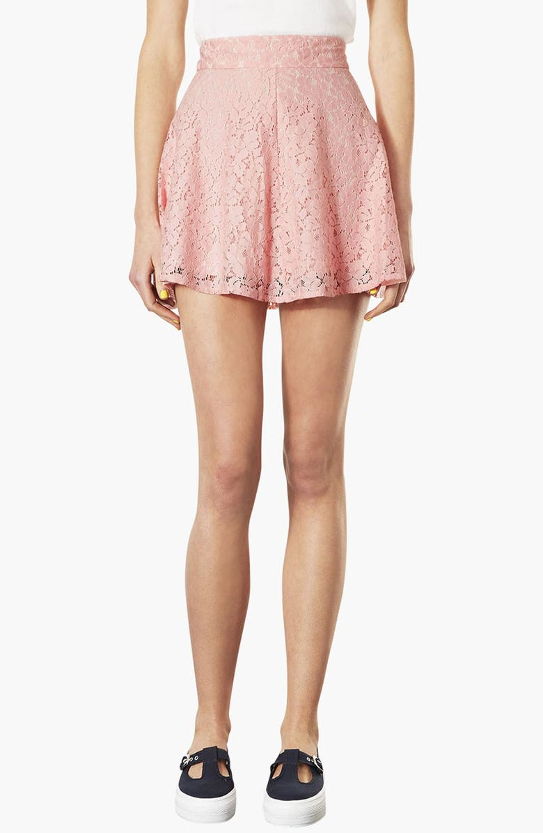 TOPSHOP High Waist Lace Skater Skirt, Main, color, 680