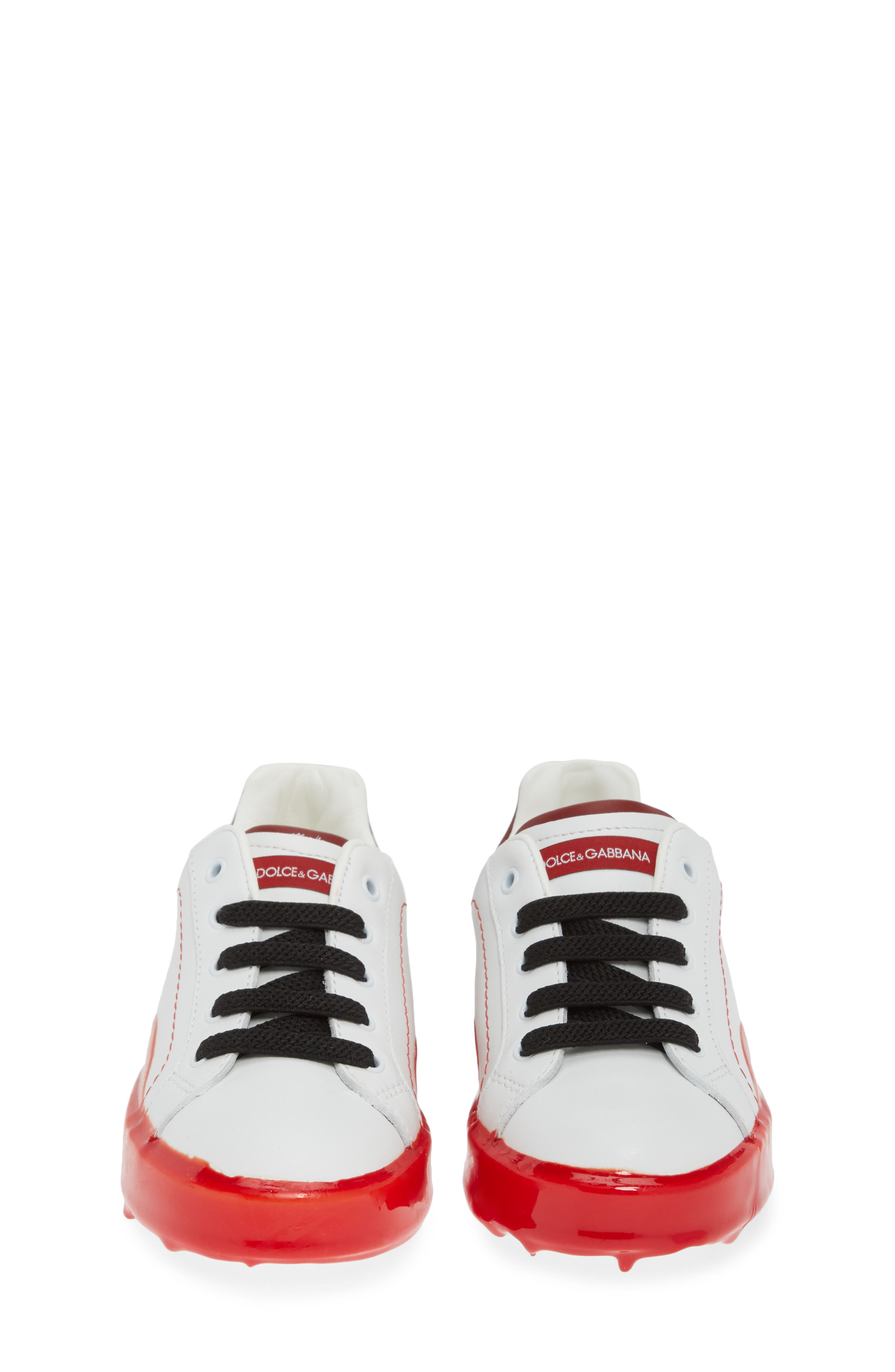 ,                             Dipped Sole Low Top Sneakers,                             Alternate thumbnail 5, color,                             WHITE/ RED
