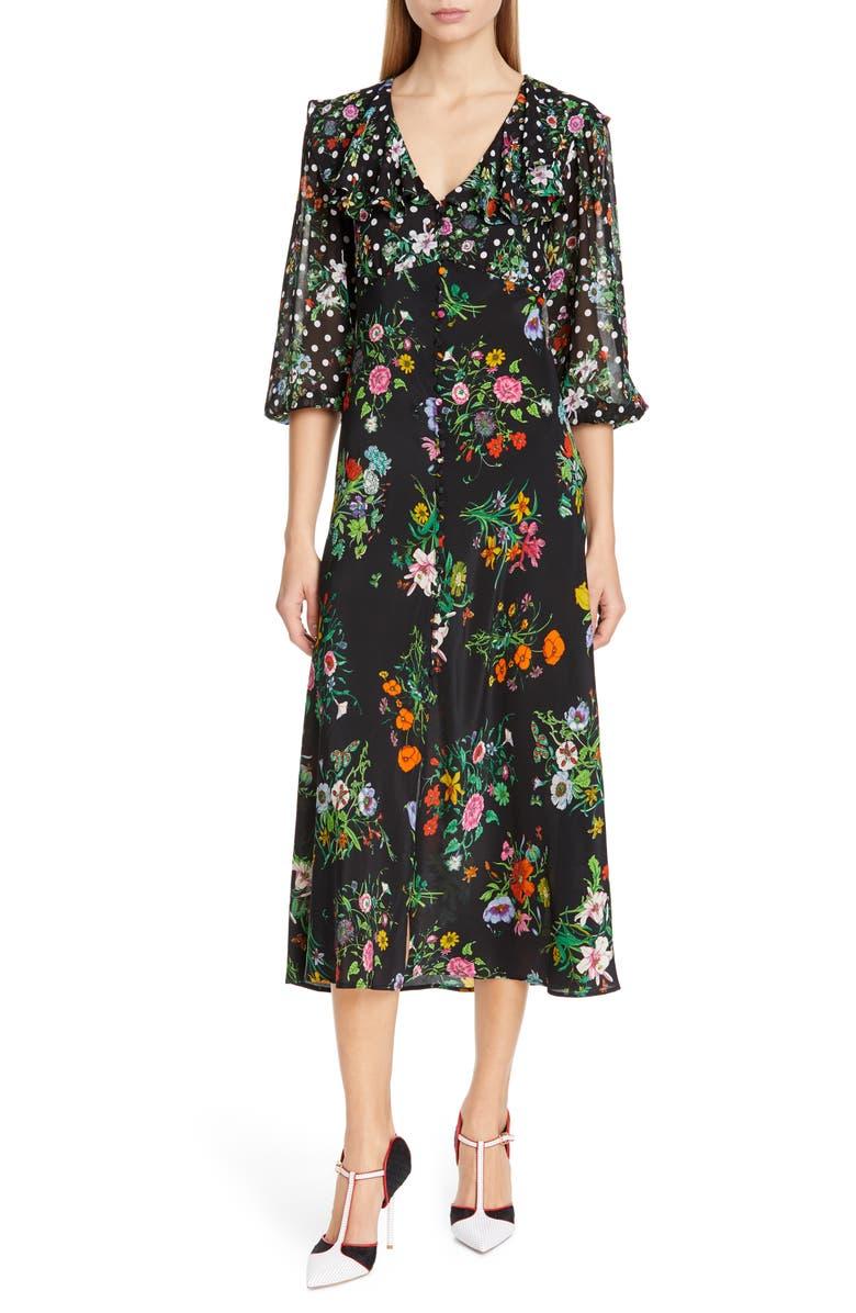 RIXO Bonnie Floral & Polka Dot Print Dress, Main, color, 001