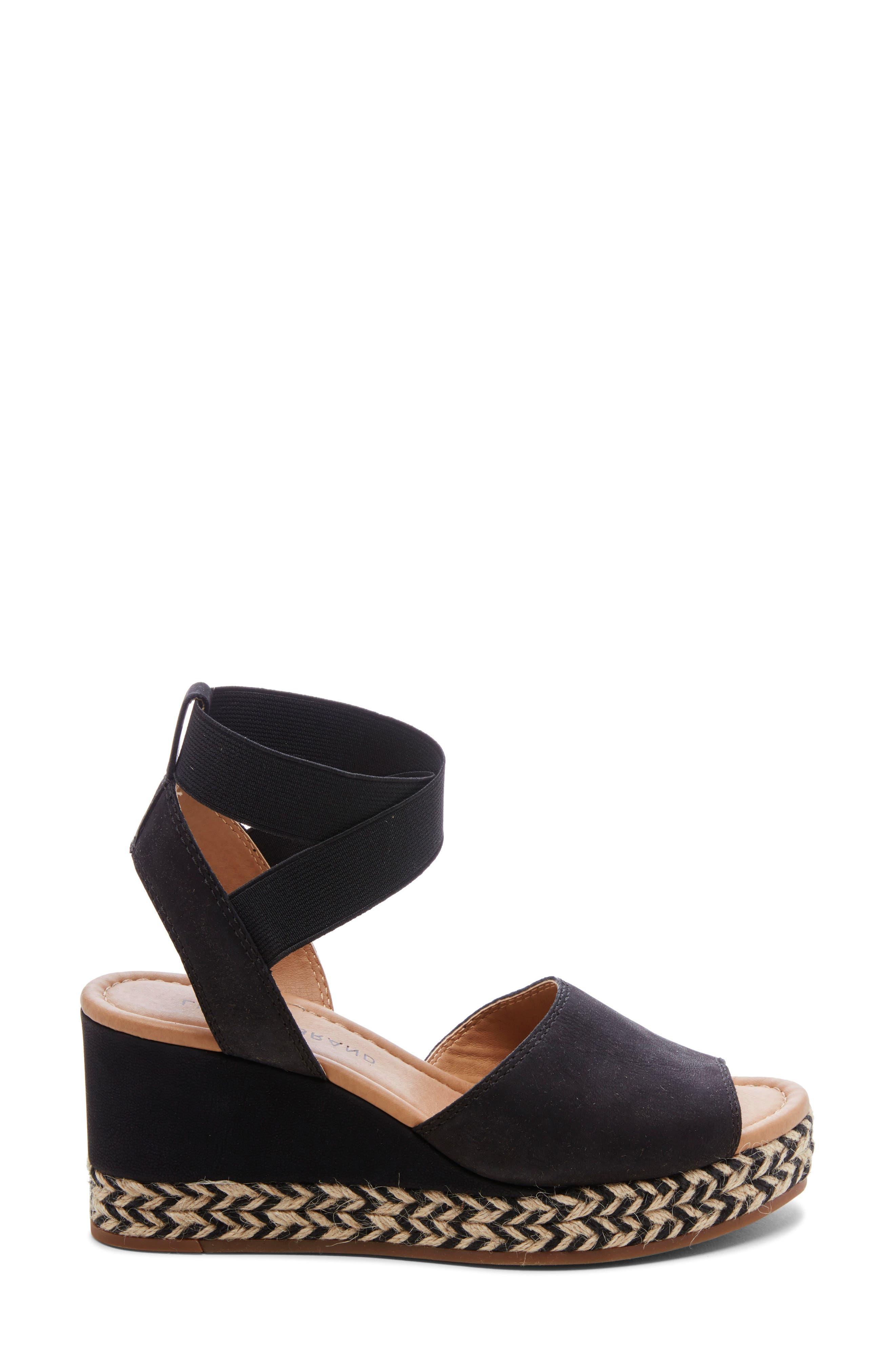 ,                             Bettanie Espadrille Wedge Sandal,                             Alternate thumbnail 3, color,                             BLACK LEATHER