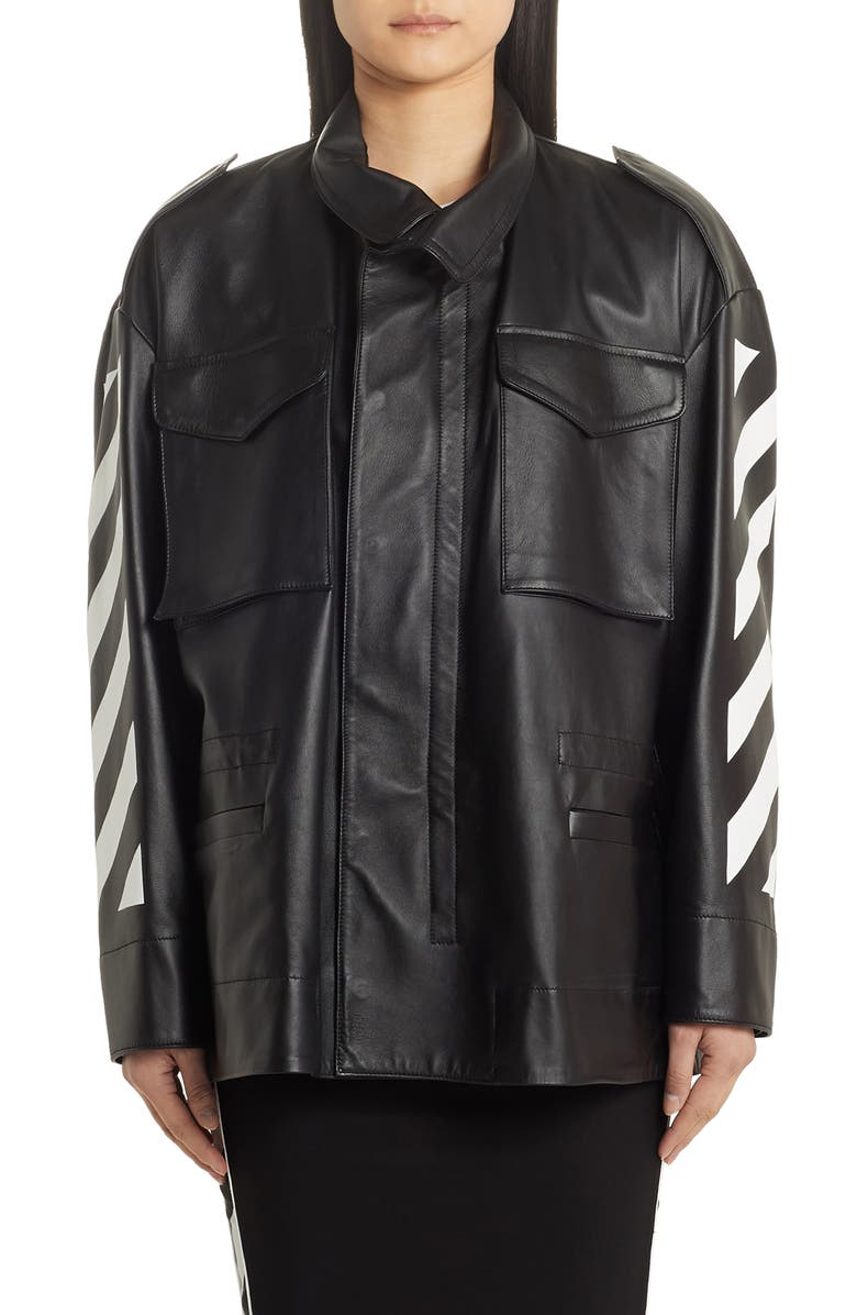 OFF-WHITE Diagonal Stripe Leather Field Jacket, Main, color, BLACK WHITE
