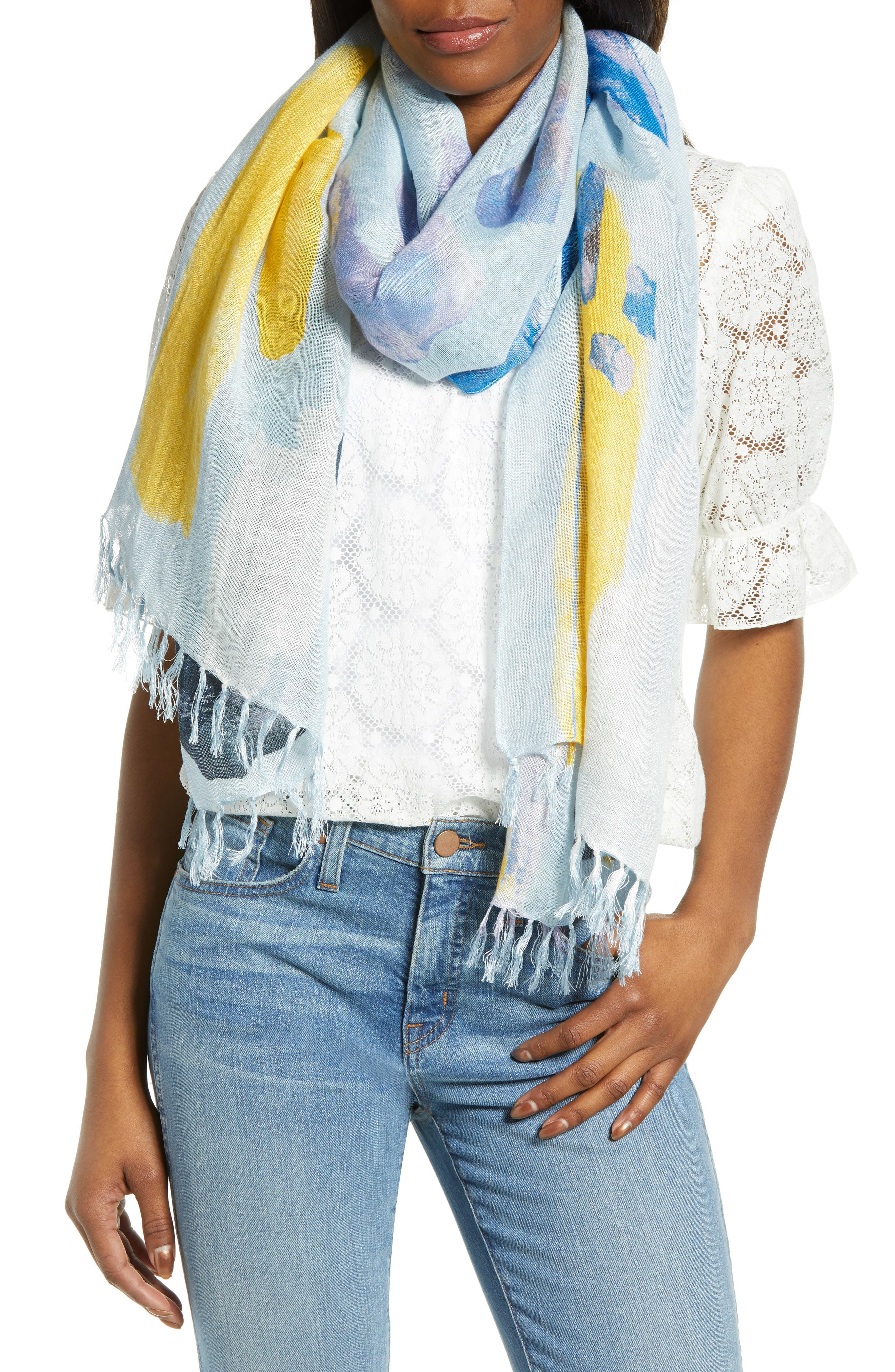 ,                             Painted Linen Blend Scarf,                             Main thumbnail 1, color,                             BLUE PAINT PLAY