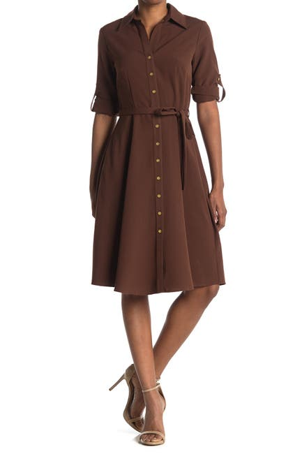 Image of Sharagano Belted Fit & Flare Shirt Dress