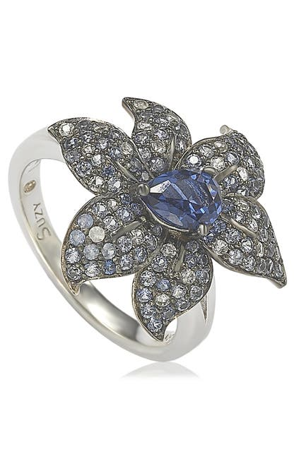 Image of Suzy Levian Sterling Silver Sapphire & Diamond Accent Exotic Flower Ring