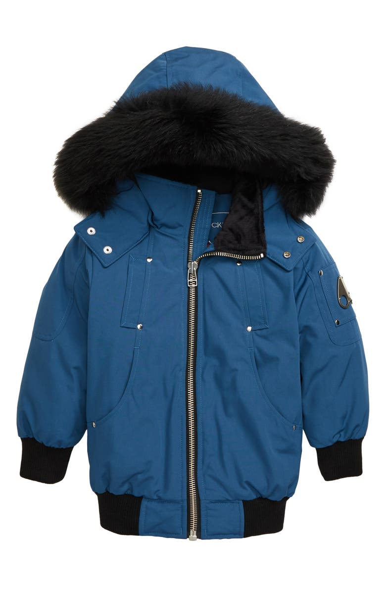 MOOSE KNUCKLES Bomber Jacket with Genuine Fox Fur Trim, Main, color, CHAMBRAY BLUE/ BLACK FOX