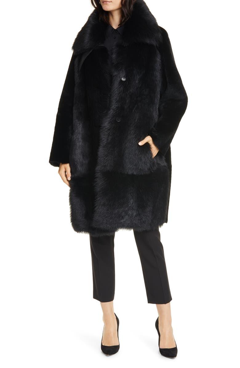 BOSS Sobesta Genuine Shearling Coat, Main, color, 001