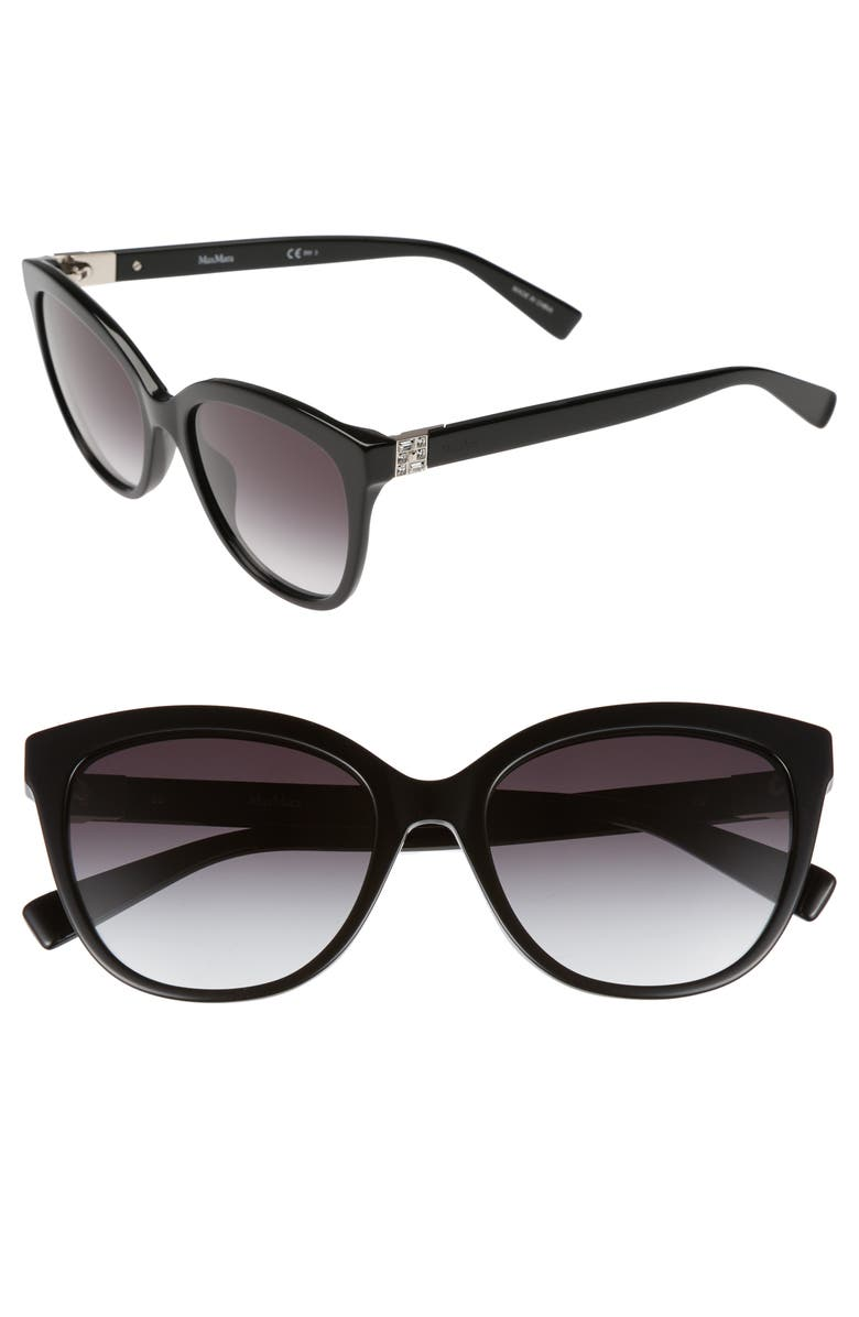 MAX MARA Tile 55mm Cat Eye Sunglasses, Main, color, BLACK