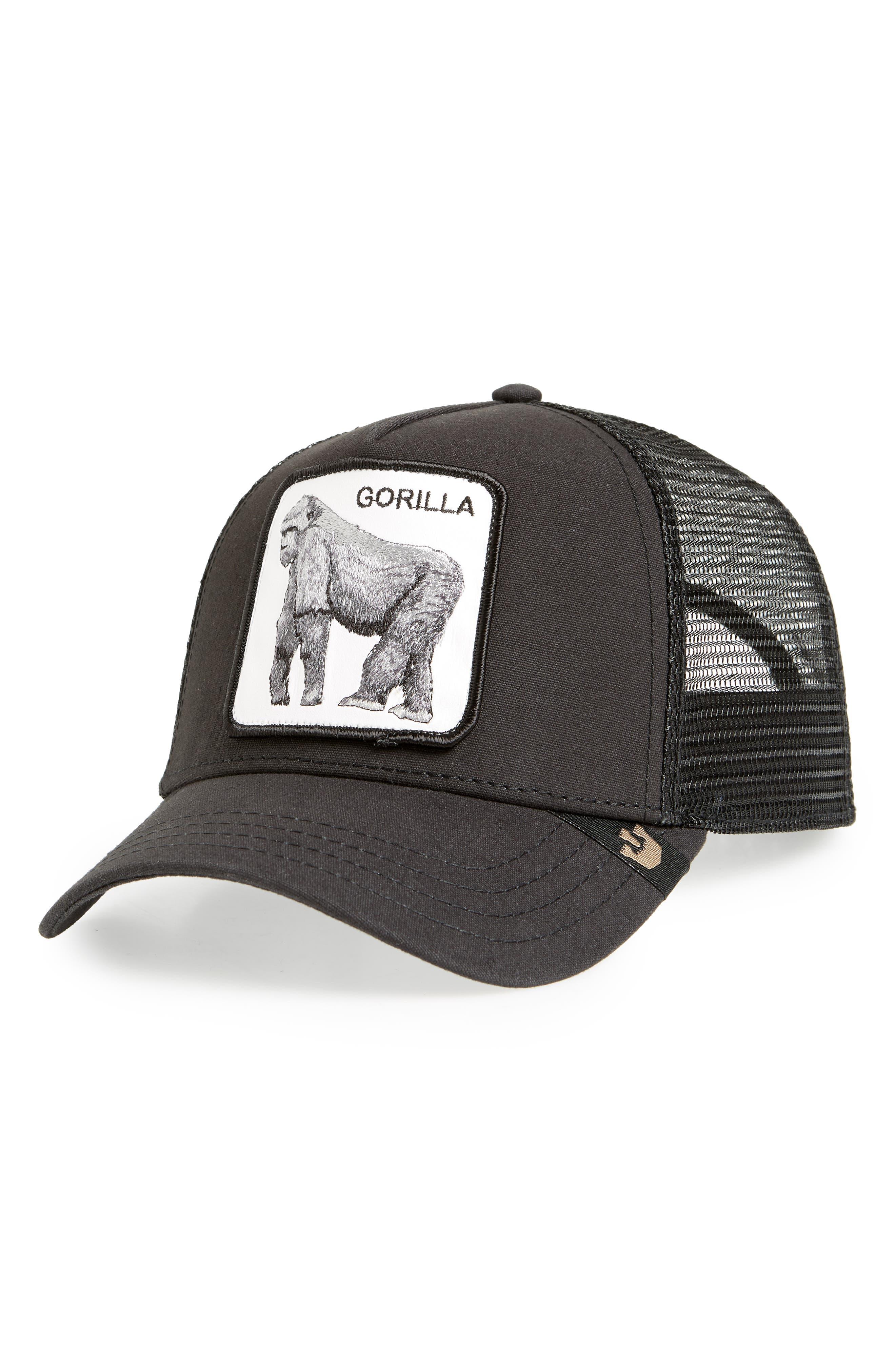 ,                             King Of The Jungle Trucker Hat,                             Main thumbnail 1, color,                             BLACK