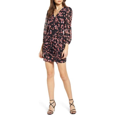 Astr The Label Floral Long Sleeve Minidress, Red