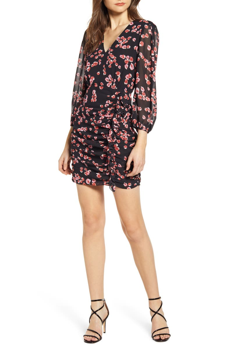 ASTR THE LABEL Floral Long Sleeve Minidress, Main, color, RED PETAL