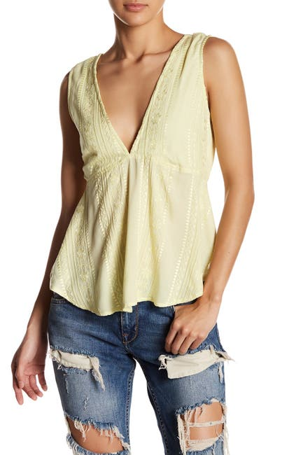 Image of Free People V-Neck Back Tie Tank