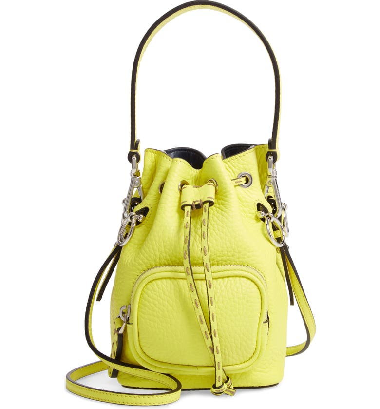 FENDI Mini Mon Tresor Leather Bucket Bag, Main, color, FLUO YELLOW/ PALLADIUM