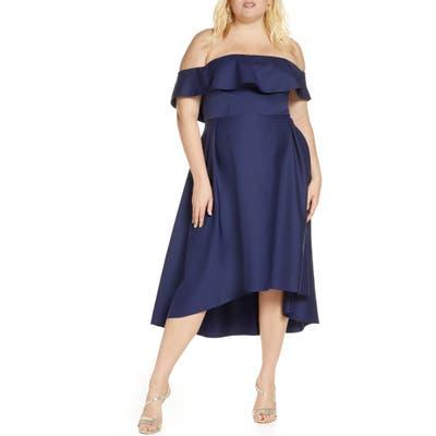 Plus Size Chi Chi London Yazmina Off The Shoulder Dress, Blue