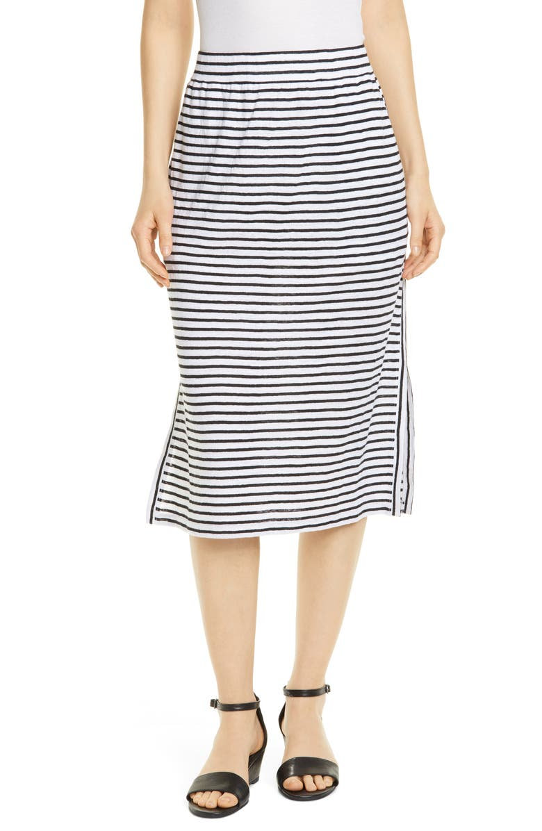 EILEEN FISHER Stripe Organic Linen Knit Skirt, Main, color, 120