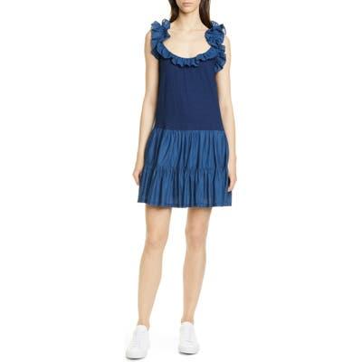 La Vie Rebecca Taylor Ruffle Detail Sleeveless Mix Media Cotton Dress, Blue
