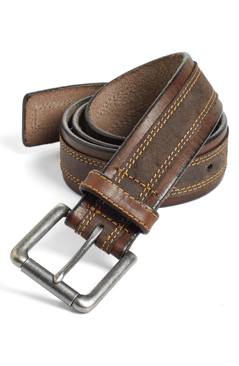 JOHNSTON & MURPHY Leather Belt, Main, color, BROWN