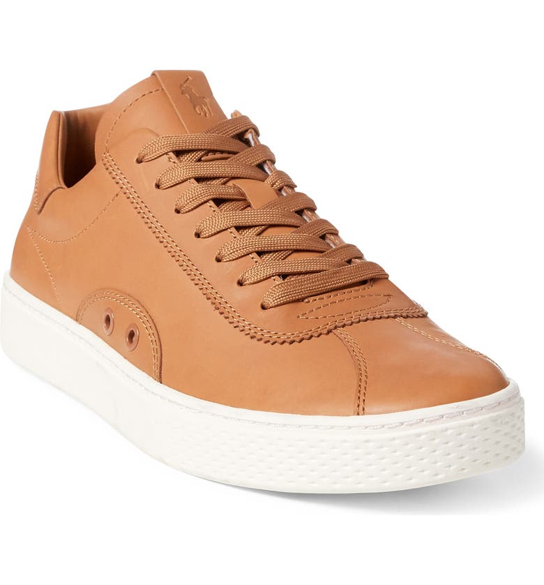 POLO RALPH LAUREN Court 100 LUX Sneaker, Main, color, POLO TAN LEATHER