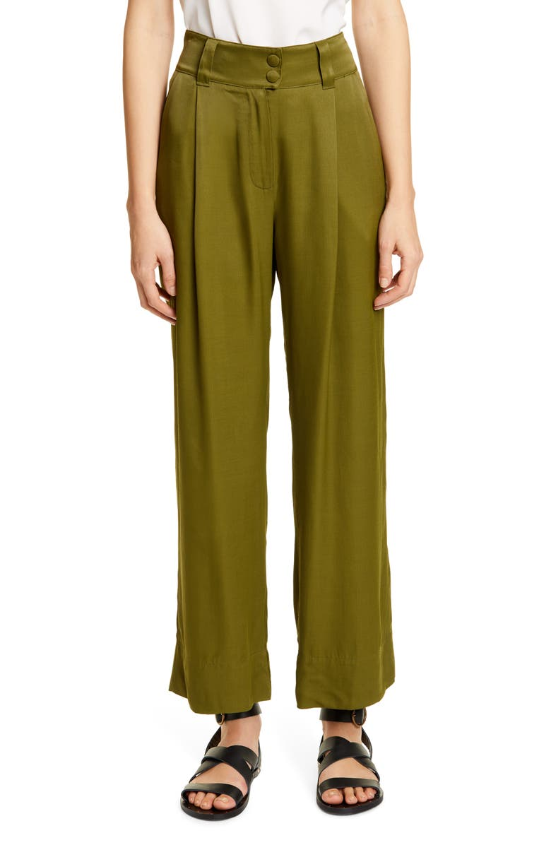 RODEBJER Guraya Wide Leg Satin Pants, Main, color, KHAKI GREEN