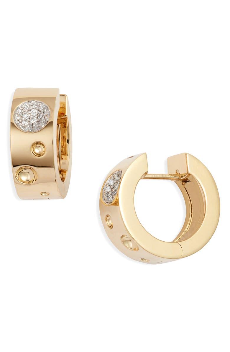 ROBERTO COIN Pois Moi Luna Pavé Diamond Huggie Earrings, Main, color, YELLOW GOLD