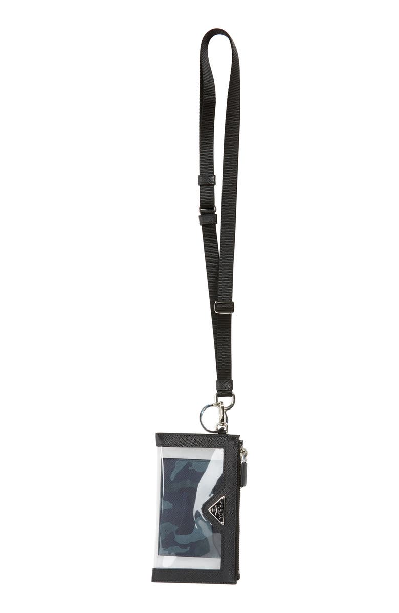 PRADA Saffiano Print Plexiglas<sup>®</sup> & Leather Lanyard Card Case, Main, color, BLACK
