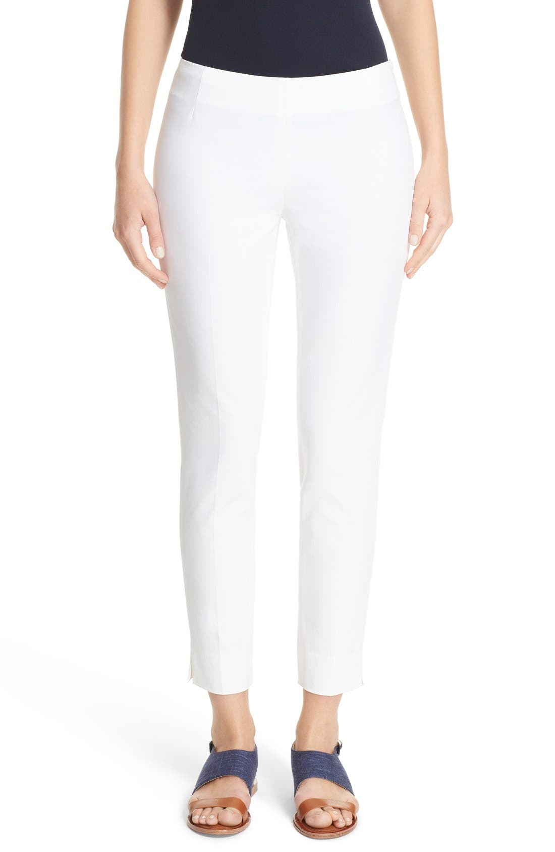 Women's Lafayette 148 New York Stanton Slim Leg Ankle Pants,  4 - White