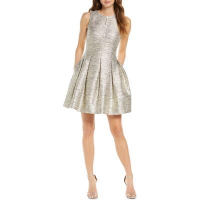 Vince Camuto Jacquard Fit & Flare Dress, Metallic