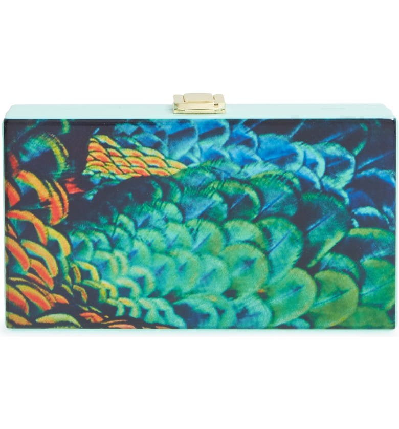 NATASHA COUTURE Feather Print Box Clutch, Main, color, 440