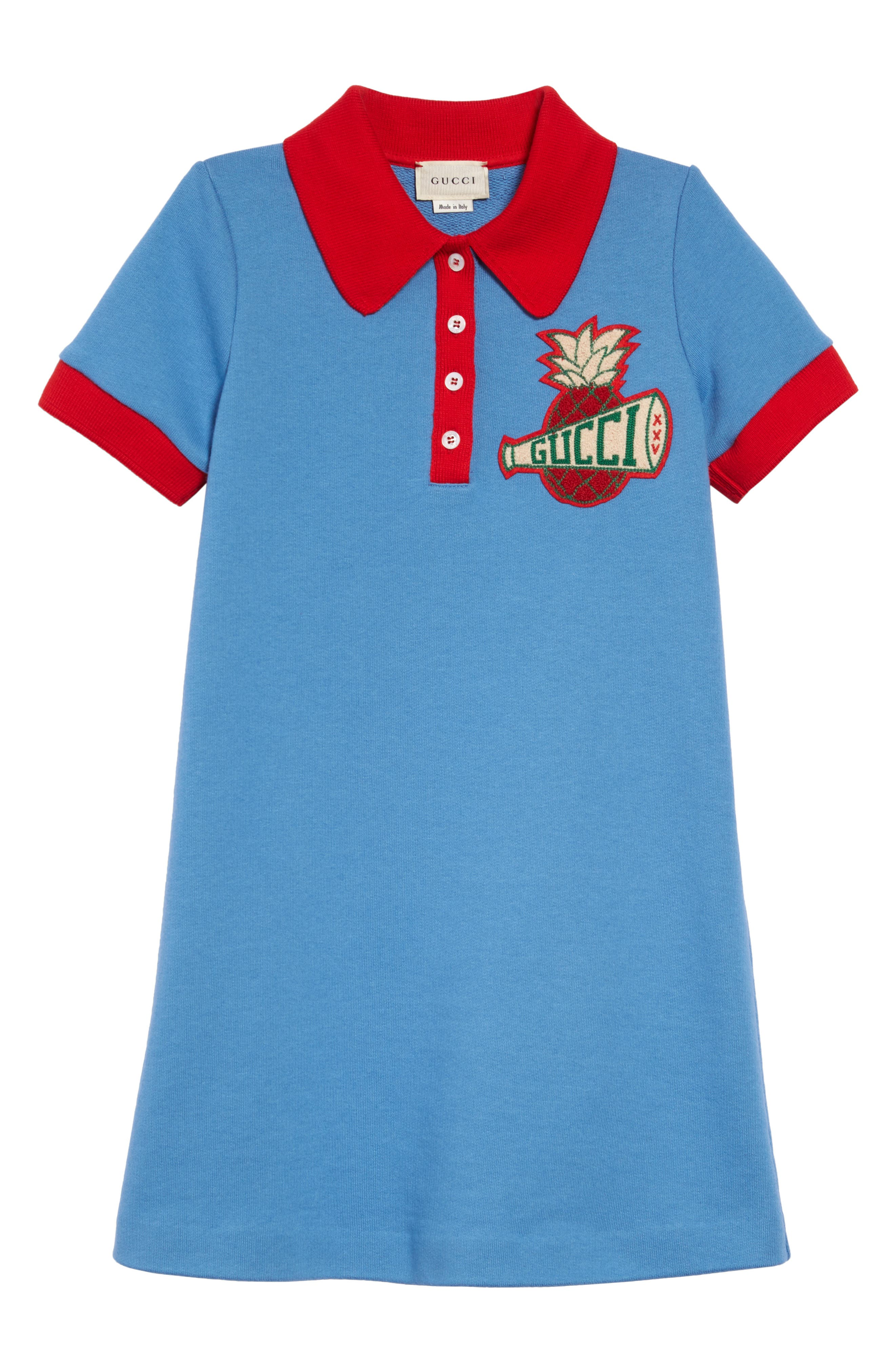 Girls Gucci Embroidered Polo Dress Size 4Y  Blue
