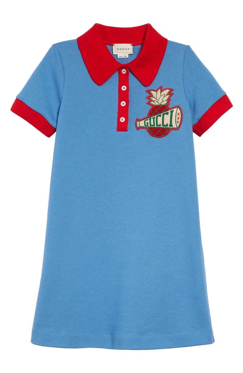 GUCCI Embroidered Polo Dress, Main, color, BLUE/ RED
