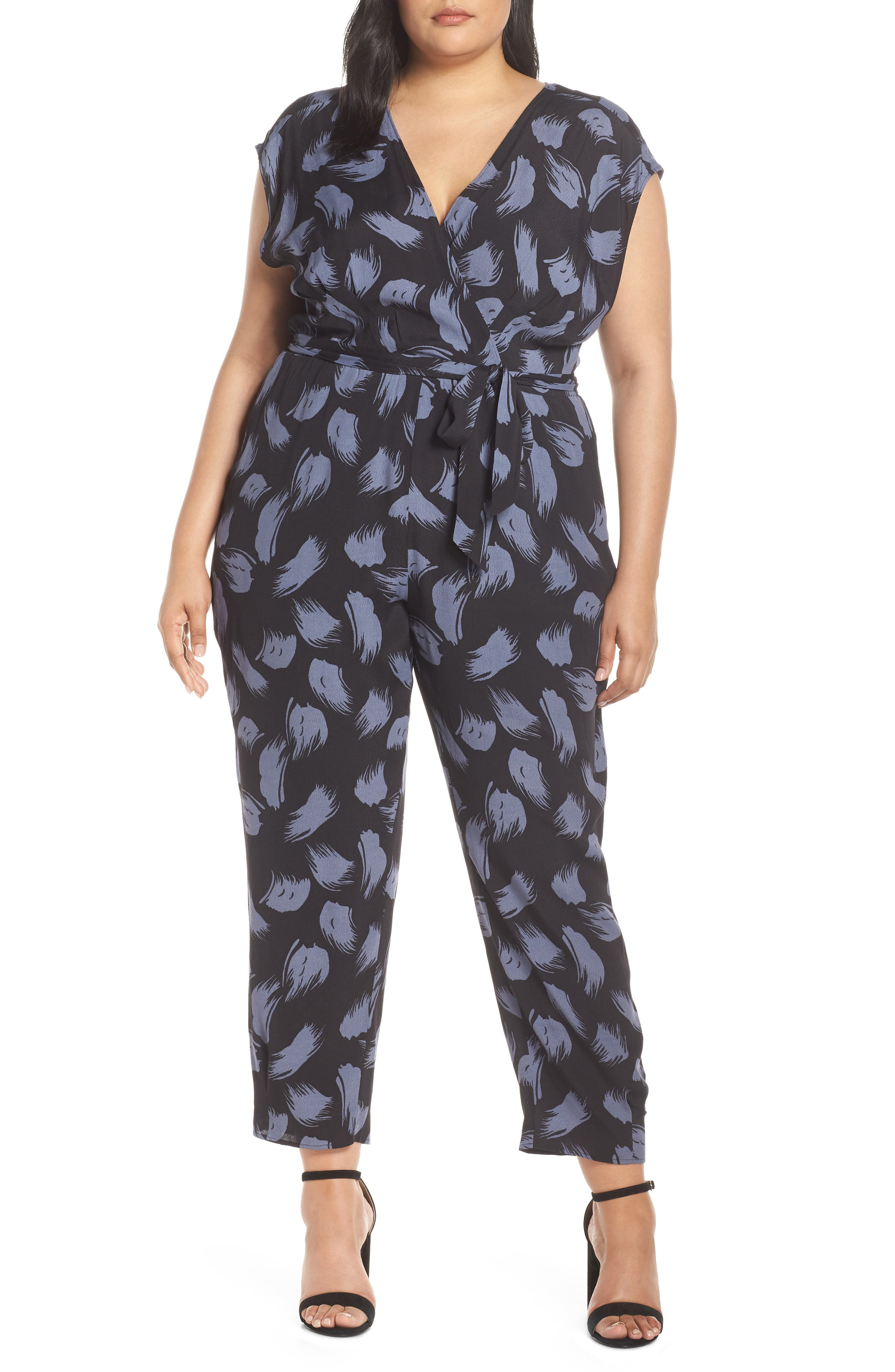 ,                             Tie Waist Print Jumpsuit,                             Alternate thumbnail 4, color,                             001
