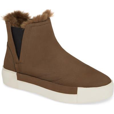Jslides Val Faux Fur Lined Platform Sneaker, Beige