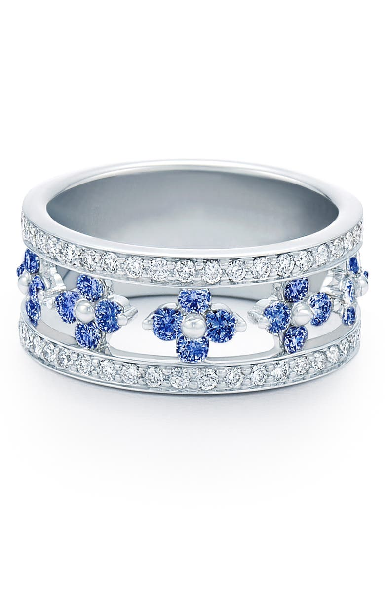 KWIAT Jasmine Sapphire & Diamond Band Ring, Main, color, WHITE GOLD