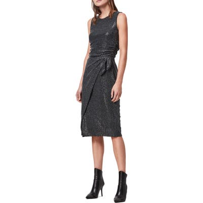 Allsaints Allegra Shimmer Wrap Front Sleeveless Sheath Dress, Black